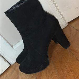 Bar III Suede Black Platform Booties